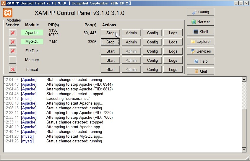xampp control panel v3.1.0.3.1.0